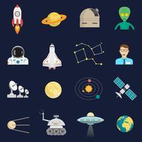 Flache Ikonen des Weltraumkosmos eingestellt
