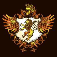 Klassisk heraldisk kunglig emblem Färgrik ikon
