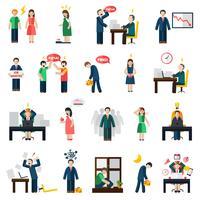 Stress depression mental hälsa ikoner uppsättning