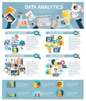 Flaches Plakat der Datenanalytik-Infografik-Elemente