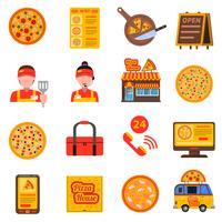 Pizza färgad uppsättning vektor