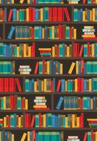 Bücherregale Dtcorative buntes Ikonen-Plakat vektor