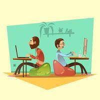 Coworking Cartoon Set Illustration