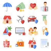 Försäkringsikoner Set