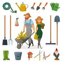 trädgårds tecknad ikon set vektor