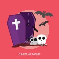 Grave At Night Konceptuell illustration Design vektor