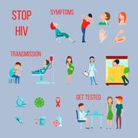 HIV-Infektions-AIDS-Icon-Set vektor