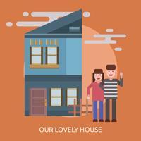 Unser reizendes Haus konzeptionelles Illustrationsdesign
