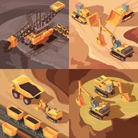 stenbrytning gruva designkoncept