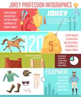 jockey profession infographics layout