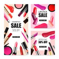 Lip Makeup Realistic Sale Banners