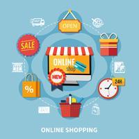 E-handel färgad sammansättning vektor