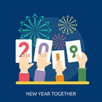 Neues Jahr zusammen konzeptionelle Illustration Design