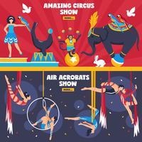 fantastiska cirkus banners set