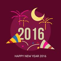 Gott nytt år 2016 Konceptuell illustration Design