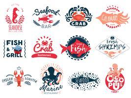Kreative Emblems-Kollektion für Meeresfrüchte vektor
