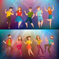 Dancing People Retro Banners Set vektor