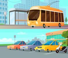 stadstransporttecknadeskompositioner vektor
