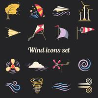 Wind Farbe flache Icons