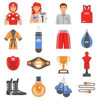 Boxing Ammunition Flat Color Icons Set vektor