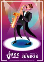 Jazzfestival-Karikaturplakat vektor