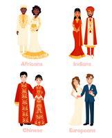 Multikulturella bröllopspar vektor