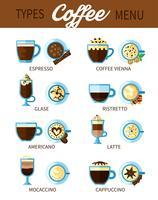 Typer av kaffeset vektor