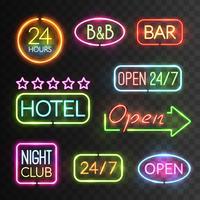 neon öppet teckenuppsättning vektor