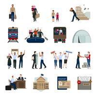 Staatenlose Flüchtlinge flache Icons Set