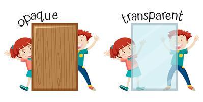 Englisches gegenüberliegendes Wort undurchsichtig und transparent vektor