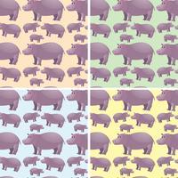 Nahtloser Hintergrund mit wildem Flusspferd vektor