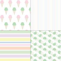 nahtlose Muster der Eiscremeshells und -streifen Pastell vektor
