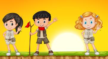 Barn som vandrar i naturen vektor