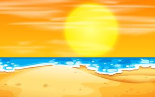 En strand solnedgång scen vektor