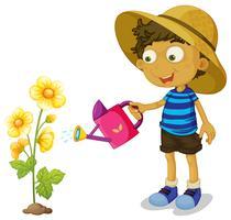 Junge, der gelbe Blume mit Dose wässert vektor
