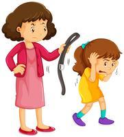 Mädchen wird von der Mutter bestraft vektor