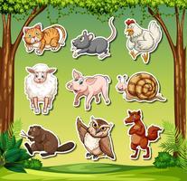 Satz von Tier Aufkleber Zeichen
