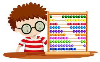 Pojke leker med abacus vektor