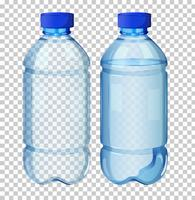 Set med transparent vattenflaska