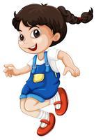 En glad knubbig flicka karaktär
