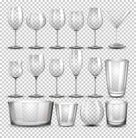 Eine Reihe von transparentem Glas vektor