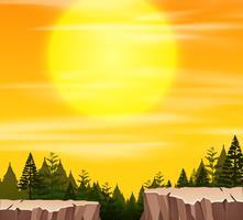 En natur scen vid solnedgången vektor