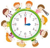 Kinder auf Uhrvorlage vektor