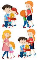 Reihe von Familienszenen