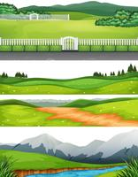 Sats av olika utomhus scener vektor