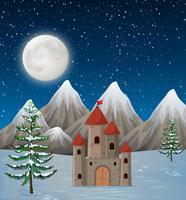 Ett slott på vinternatt vektor