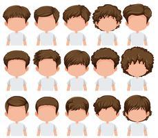 Set av pojke olika frisyr vektor