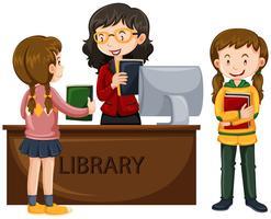 Kinder checken Bücher aus der Bibliothek aus vektor