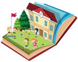Student in der Schule offenes Buch Thema vektor