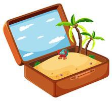 Sand i resväska koncept vektor